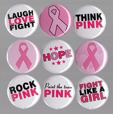 BREAST CANCER AWARENESS button set pink ribbon hope fundraiser think love fight