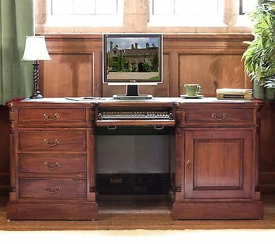 La Roque solid mahogany furniture large office twin pedestal computer desk