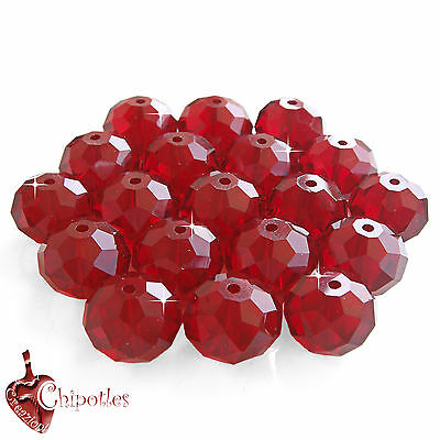 3 PERLE rondelle ROSSE 15mm perline RED CRYSTAL BEADS mezzo cristallo