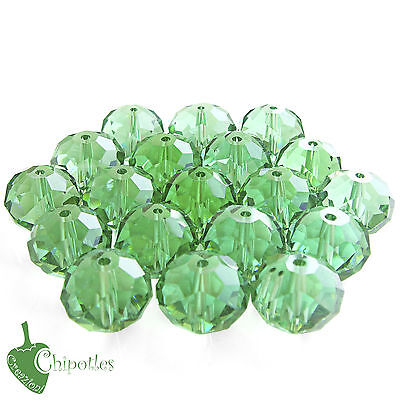 3 PERLE rondelle VERDI 15mm perline green CRYSTAL BEADS mezzo cristallo