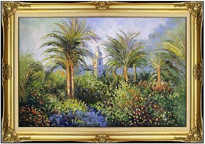 Framed Monet Garden at Bordighera Repro, Hand Painted Oil Painting 24x36in