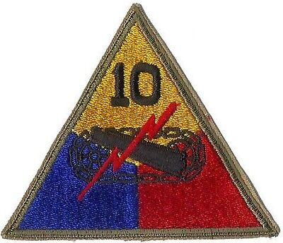 US ARMY 10TH ARMORED DIVISION PATCH - ORIGINAL WWII ERA