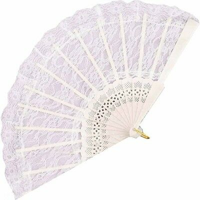 Lace Chinese Fan White Victorian Wedding Geisha Costume Accessory Prop decor