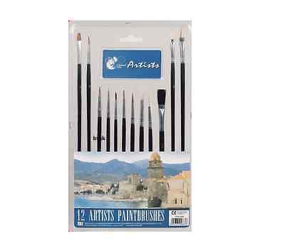 12 Piece Assorted Artists Paint Brushes Set Round Flat Hobby Craft Painting New