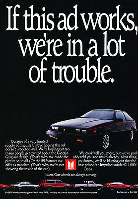 1984 Isuzu Impulse black coupe Classic Vintage Advertisement Ad A2-B