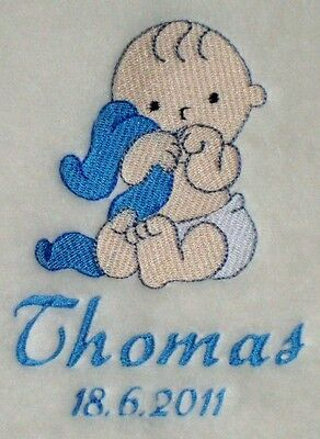 Personalised Embroidered Cute Baby Boy Blanket Birth/Christening Gift New Baby