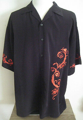 Andrade Embroidered Heart Playing Cards Mens Shirt Top XL Black Nice