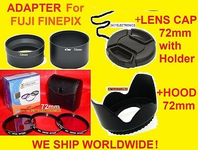 CAMERA LENS ADAPTER S4000+FILTER KIT+HOOD+CAP 72mm for FUJI S4000HD S4050HD 72