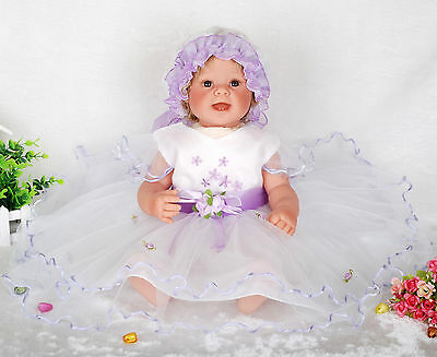 New Lilac Christening/Wedding/Party Dress 6-9 Months+Bonnet