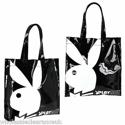 Wholesale Joblot of 10 Playboy Gift range large patent shopper bag Black/White