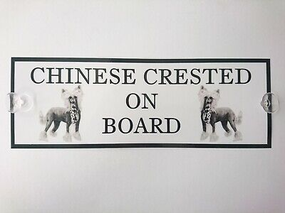 Chinese Crested On Board Car Sign by Curiosity Crafts