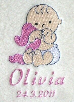 Personalised Baby Blanket Birth/Christening Gift Cute Baby Girl