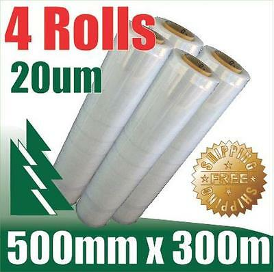 4 Rolls 500mm x 300m 20um Clear Stretch Film Pallet Wrap Wrapping BEST PRICE