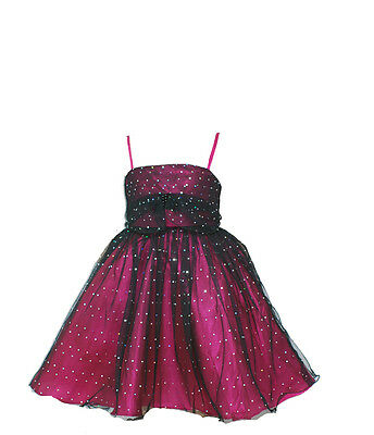 New Hot Pink and Black Pageant Party Dress 12-18 Months