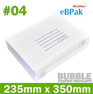 25 #04 230mm x 350mm Bubble Mailer Padded Bag * White Kraft Cushioned Envelope