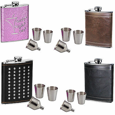 New Ladies & Men 8oz Hip Flask Stainless Steel With 2 Cups And Funnel Modern Set