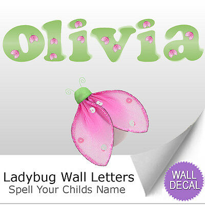 Wall Letter Alphabet Initial Sticker Vinyl Stickers Decals Name Green Ladybug