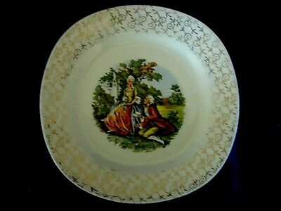 "Vintage TAYLOR SMITH TAYLOR ""Conversation"" Scenic Plate w/Gold Designs Rim"