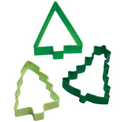 Wilton Christmas Trees Cookie Cutter Set Holiday 3 pc Colored Metal New 1103