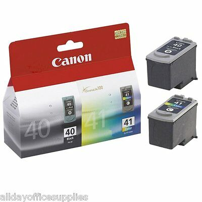 Canon PG 40 Black and Canon CL 41 Colour Twin Pack (x2) Ink Cartridges VAT INC