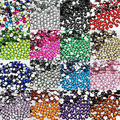 1000 RHINESTONES GEMS 5mm acrylic flat Silver Back Round diamante 30 COLOURS
