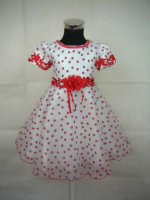 New White&Red Floral Pageant/Party Dress 6-9 Months