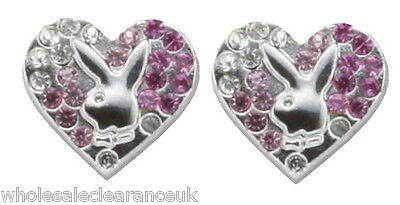 Wholesale Joblot of 10 Playboy Gradient Heart Earings Platinum Plated