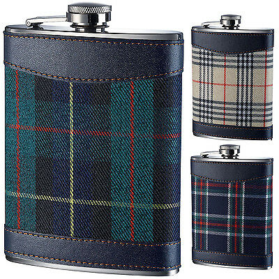 Hip Flask Stainless Steel 8oz Tartan Design or Funnel Party Camping Stylish UK