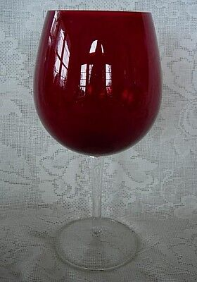 22 oz. Ruby Red / Crystal Blown Glass Balloon Wine Goblet - NEW - MORE AVAILABLE
