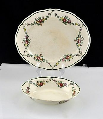 2pc Set Royal Doulton D2772 13 3/4″ Oval Platter and 9 5/8″ Oval Vegetable Bowl