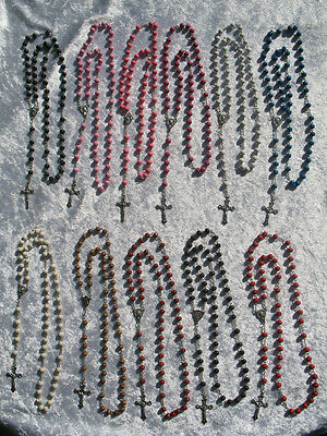 Rosary Beads - Wood Beaded Holy Christian Jesus Crucifix Necklace *Choose Colour