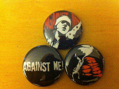 "AGAINST ME LOT OF 3 1"" pins pinback buttons Black Flag   punk Defiance Ohio #1"