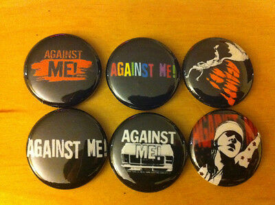 "AGAINST ME LOT OF 6 1"" pins pinback buttons This Bike is a pipe bomb PUNK"