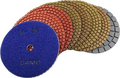 "4"" Wet Diamond Polishing Pads Set of 7 + Black Buff for Granite Countertop/Floor"
