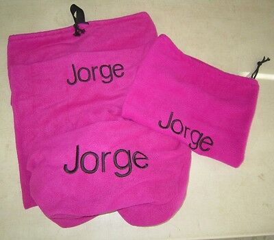 Horse Saddle cover Bridlebag & Free hatbag also EMBROIDERED FREE Pink