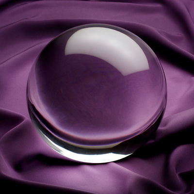 """6in"""" 150mm Clear Crystal Ball with Angled Crystal Stand in Gift Box"""