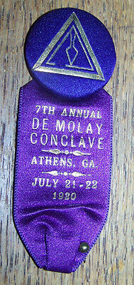 1920 MASONIC MEDAL BADGE DE MOLAY CONCLAVE ATHENS GA 7TH ANNUAL PINBACK PIN