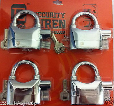 4 Key ALike  Siren Alarm Padlocks CHROMIUM PLATTED))))