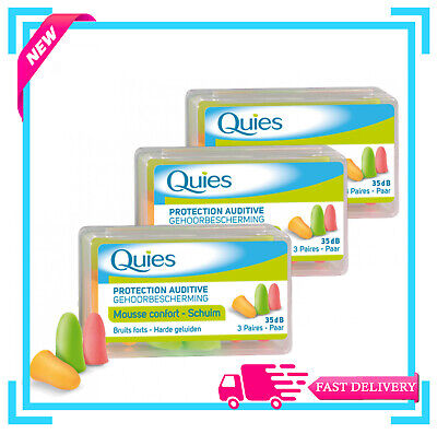 Quies Protection Auditive - Earplugs -3 Pairs (Pack of 3)