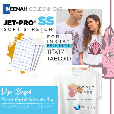 "Jet Pro SS Heat Transfer Papers For InkJet Printer 11"" x 17"" Heat Press 100Pk"