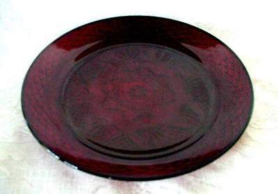 Beautiful Set of 4 Ruby Red Pressed Glass Serving Plates