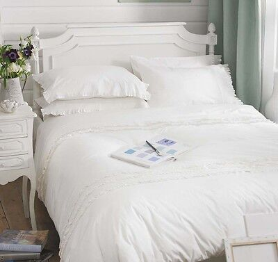 White Frill Ruffle / Frill Cottage 100% Cotton Bedding Duvet Cover - Palermo