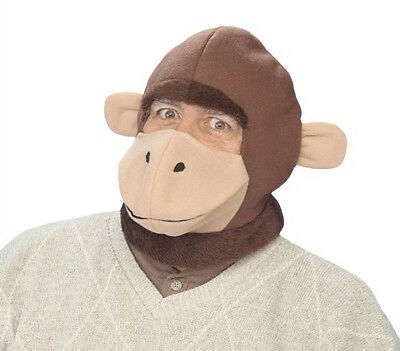 Curious George Inspired Brown Monkey Hood Animal Mask Costume Accessory NEW