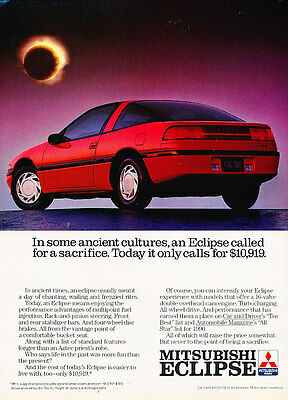 1990 Mitsubishi Eclipse - All stars - Vintage Advertisement Ad A20-B
