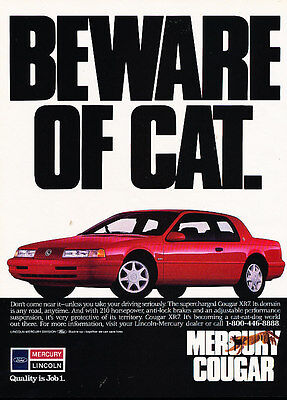 1990 Mercury Cougar XR7 - beware of cat - Vintage Advertisement Ad A20-B