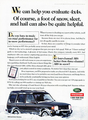 1998 Land Rover Discovery - foot of snow - Vintage Advertisement Ad A26-B