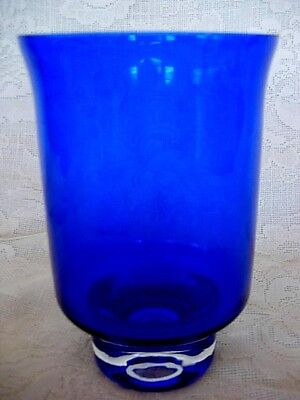 Beautiful Collectible Cobalt Blue & Crystal Blown Glass Vase