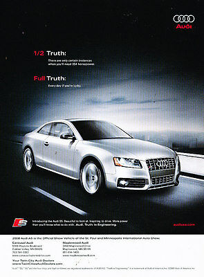 2008 Audi S5 - 354hp full truth -  Vintage Advertisement Ad A34-B