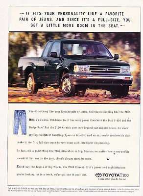 1996 Toyota T100 Truck - more room -  Vintage Advertisement Ad A33-B