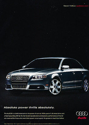 2007 Audi S4 - 340hp V8 power thrills -  Classic Advertisement Ad A43-B